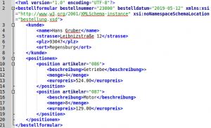 Beispiel bestellung.xml