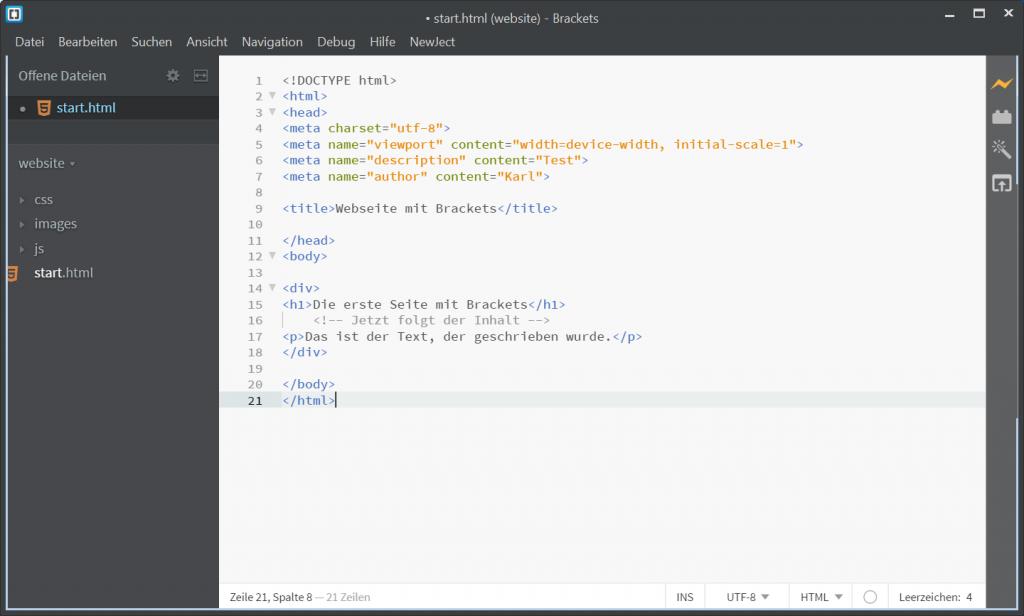 HTML Editor Brackets