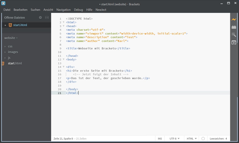 Webseiten mit HTML Editor Brackets erstellen